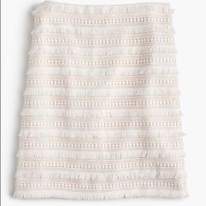J. Crew Cream Fringe Skirt Size 8